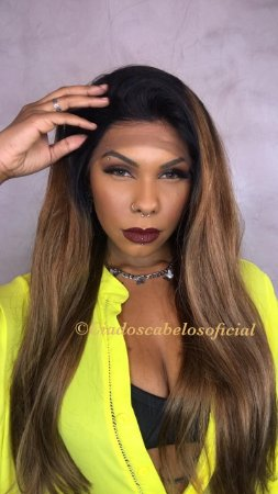 Peruca lace front cabelo humano longa Ombre LH21