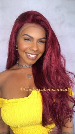 Peruca lace front cabelo humano vermelho LH22