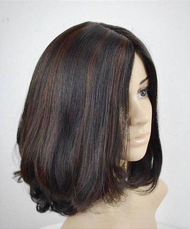 Peruca kosher cabelo humano customizada mechas