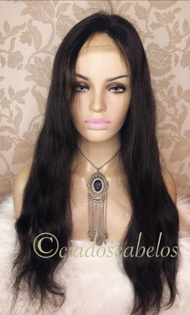 Peruca full lace glueless cabelo humano liso ondulado- COD 105