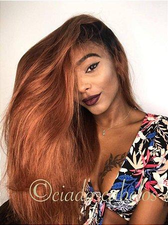 Peruca half wig cabelo humano ombré- meia peruca- COD065