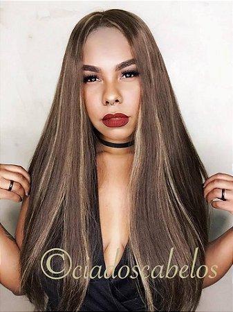 Peruca full lace cabelo humano mongoliano modelo kosher silk top mechas- COD 008