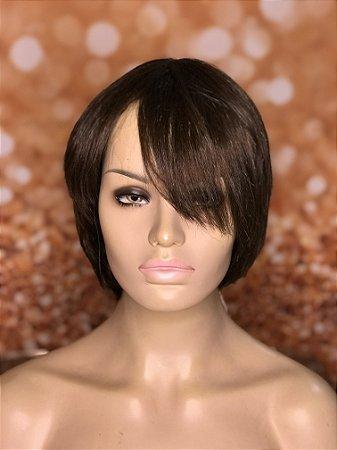 Peruca cabelo humano curta Castanho claro Sandra
