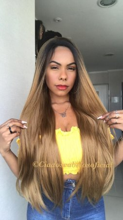 Peruca lace front Fibra futura Monalisa loira