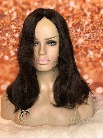Peruca fina cabelo humano kosher topo seda Cod K100