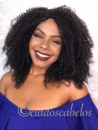 Peruca fibra futura Afro cacheada Amora castanha