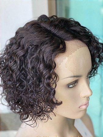 Peruca lace front cabelo humano cacheado Joan