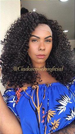 Peruca lace front fibra organica cacheada Monique