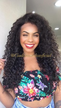 Lace front 13x6 baby hair cabelo humano cacheada Paola 60 cm
