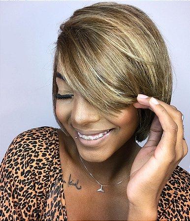Peruca luxo cabelo humano brasileiro Drica 308 castanhO claro