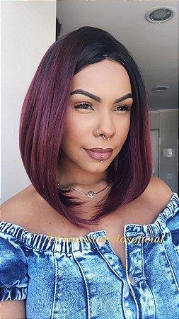 Peruca fake scalp fibra premium Bob Sofia ombre red
