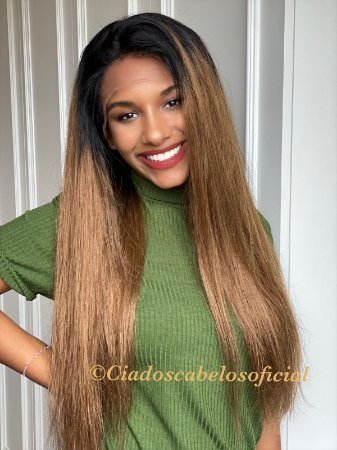 Peruca cabelo humano loiro ombre mel 65 cm