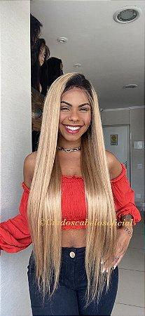 Peruca lace front cabelo humano ombre  loiro super longa COD 203