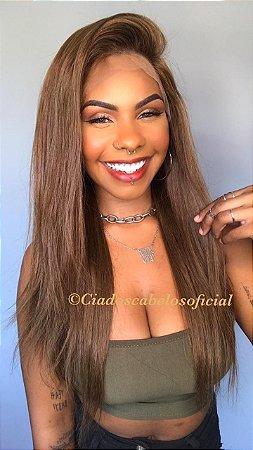 Peruca lace front cabelo humano loiro escuro S353