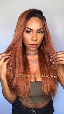 Peruca half wig cabelo humano ombre ruivo