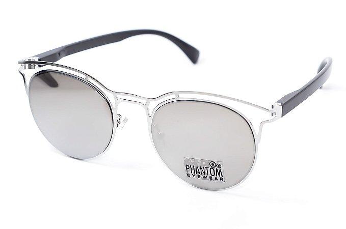 Óculos de Sol feminino phantom redondo espelhado grande com detalhes design  modernista e super na moda 75a4171543