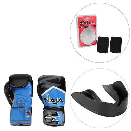 f3a43064f Kit Luva de Boxe Naja New Extreme 12 Oz + Bandagem Elástica + Protetor Bucal  -