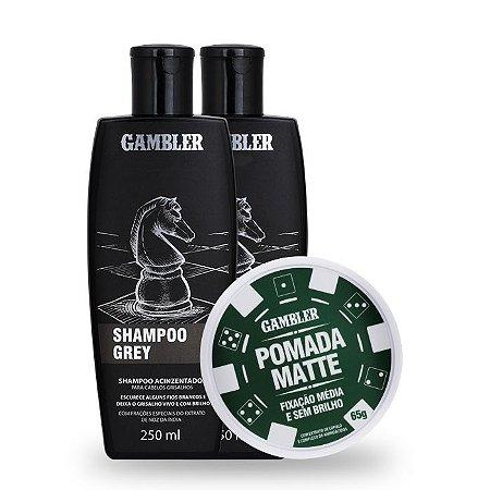 Kit 2 Shampoos Grey Escurecedor (2x250ml)  + 1 Pomada Efeito Matte Média Fixação 180g - GRÁTIS Abridor de garrafa