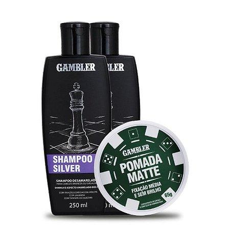 Kit 2 Shampoos SIlver Desamarelador (2x250ml)  + 1 Pomada Efeito Matte Média Fixação 180g - GRÁTIS Abridor de garrafa