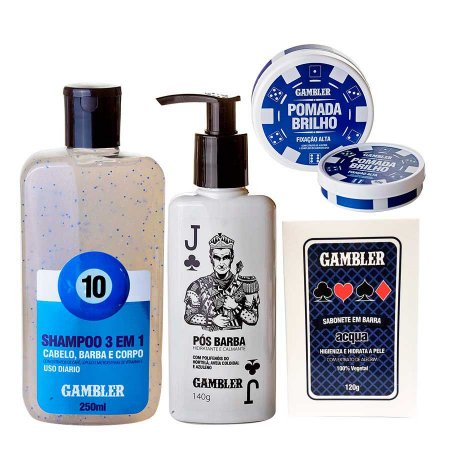 Kit Shampoo Bola 10, Pós Barba, Sabonete Acqua, Pomada Brilho