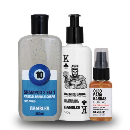 Kit Básico Barba Curta (Shampoo, Balm, Óleo)