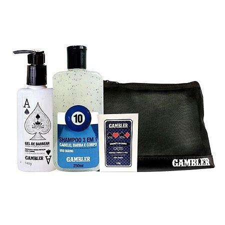 Kit Gel de Barbear, Shampoo Bola 10, Sabonete Acqua + Necessaire