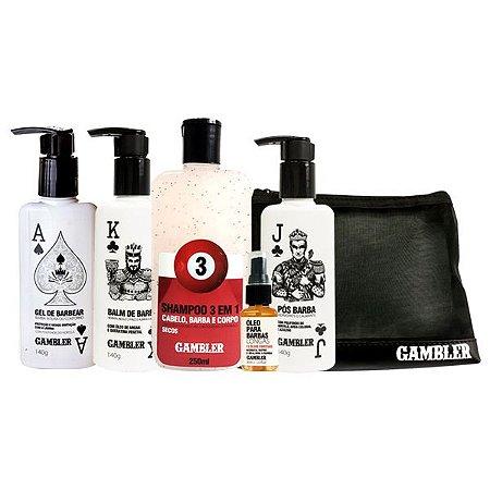 Kit Completo para Cabelo e Barba (Shampoo, Gel de Barbear, Pós Barba, Balm, Óleo) + Necessaire