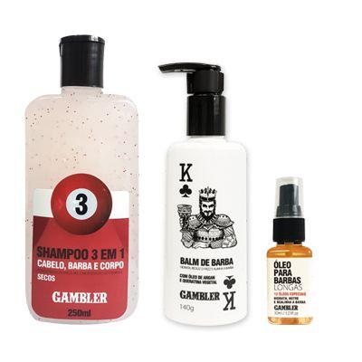 Kit Shampoo Bola 3 (250ml) + Balm de Barba 140g + Óleo para Barbas Longas 30ml
