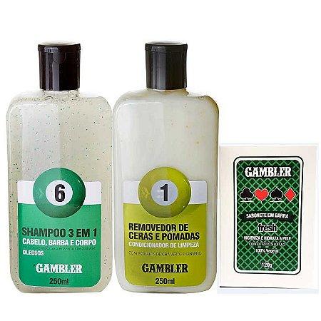 Kit Shampoo Bola 6 250ml + Removedor de Ceras 250ml + Sabonete Fresh