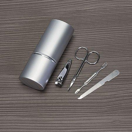 Kit Manicure 4 Peças em Estojo Oval de Alumínio. Cód. 4657