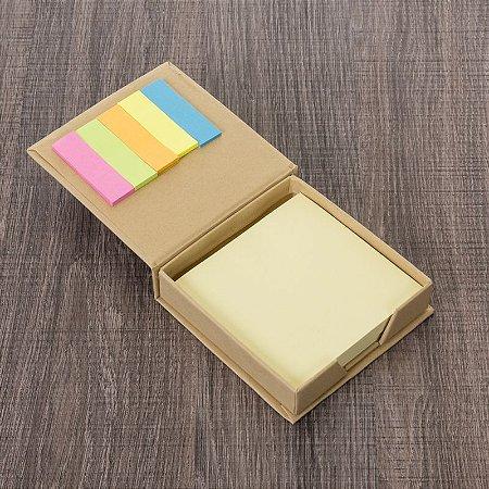 Bloco de anotações ecológico quadrado com post-it. Cód.12918
