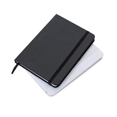 Caderneta Tipo Moleskine em Couro Sintético com Capa Lisa Fita Elástica Para Fechar Cód.13176
