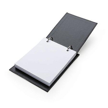 Bloco de Anotação de Mesa com Trilho de Ferro Material em Couro Sintético. Cód.13343