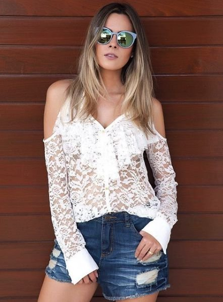 CAMISA SHOULDER LACE - AVE RARA