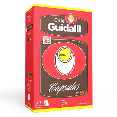 Café Guidalli Cápsulas sistema Nespresso*. Preço para 100 cápsulas. Ganhe uma xícara pequena.
