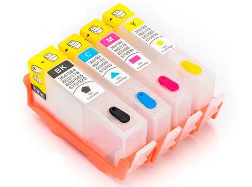 Kit Cartuchos 670 Recarregáveis para Ink Advantage 4625 4616 5525 3525 da HP