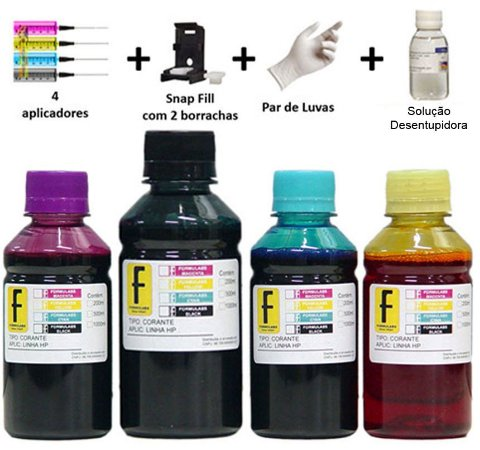 Kit Tinta Formulabs + Snap Recarga Cartuchos 667 | 60 | 61 | 122 | 662 | 664 da HP