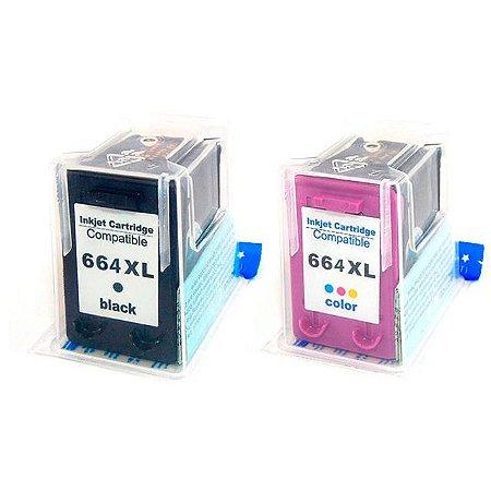 Cartucho Microjet Compatível com Deskjet 1115, 2136, 3636, 3836, 4536, 4676, 664XL, 664 da HP