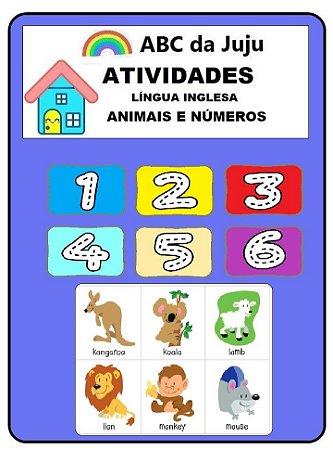 Atividades Conte os Números e Animais Inglês