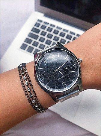 Relógio GLOW - PRATA/PRETO Ref.: M1