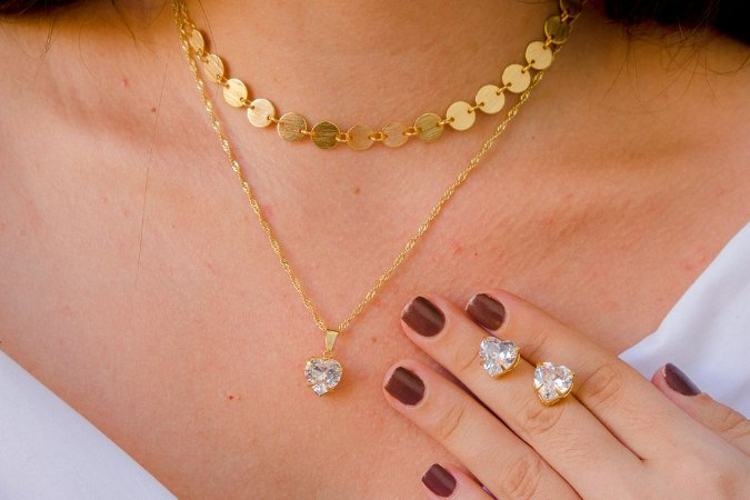 conjunto love- dourado