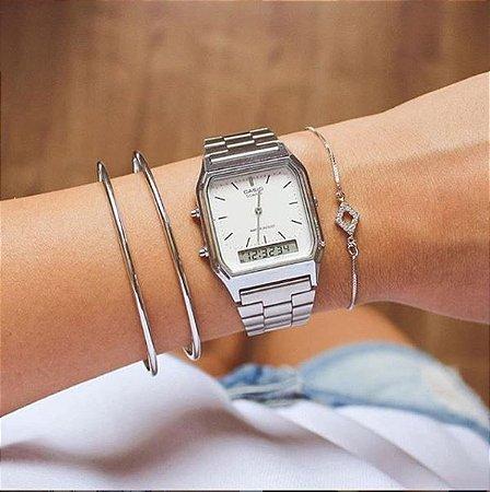 Relógio Vintage Casio - Prata - Primeira Linha