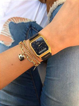 Relógio Casio Vintage - Preto/Dourado - Primeira Linha