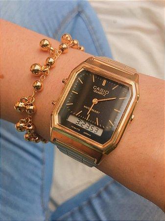 Relógio Casio Vintage - Dourado/Preto - Primeira Linha