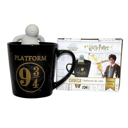 Caneca 350ml c/ Infusor p/ Chá Harry Potter - Plataforma 9 3/4