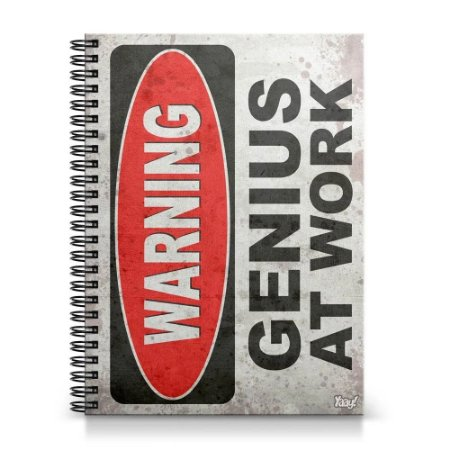 Caderno 1 Matéria - Warning Genius at Work (capa dura)
