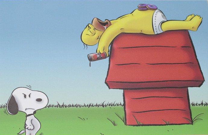 Placa Decorativa Homer & Snoopy