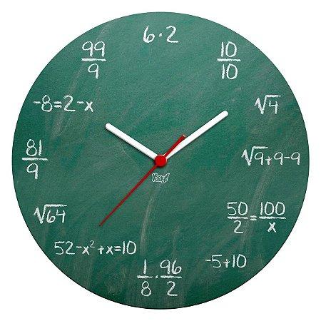 Relógio de Parede Ecológico Matemática - Fórmulas