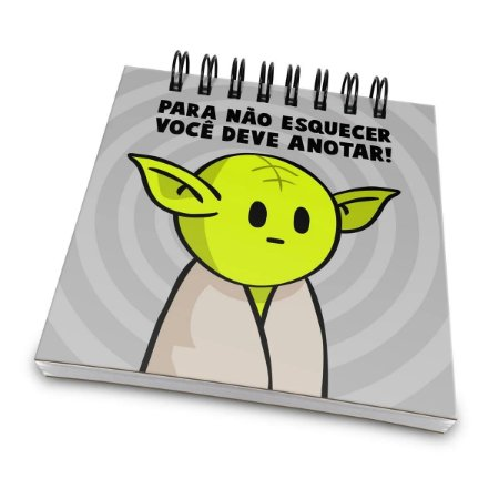 Bloco de Anotações Star Wars - Yoda Para Não Esquecer Você Deve Anotar