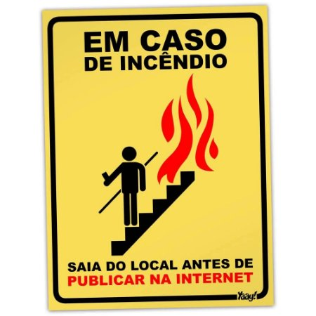 Placa Decorativa Em caso de Incendio